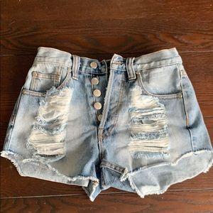 Brand new MinkPink high wasted denim shorts